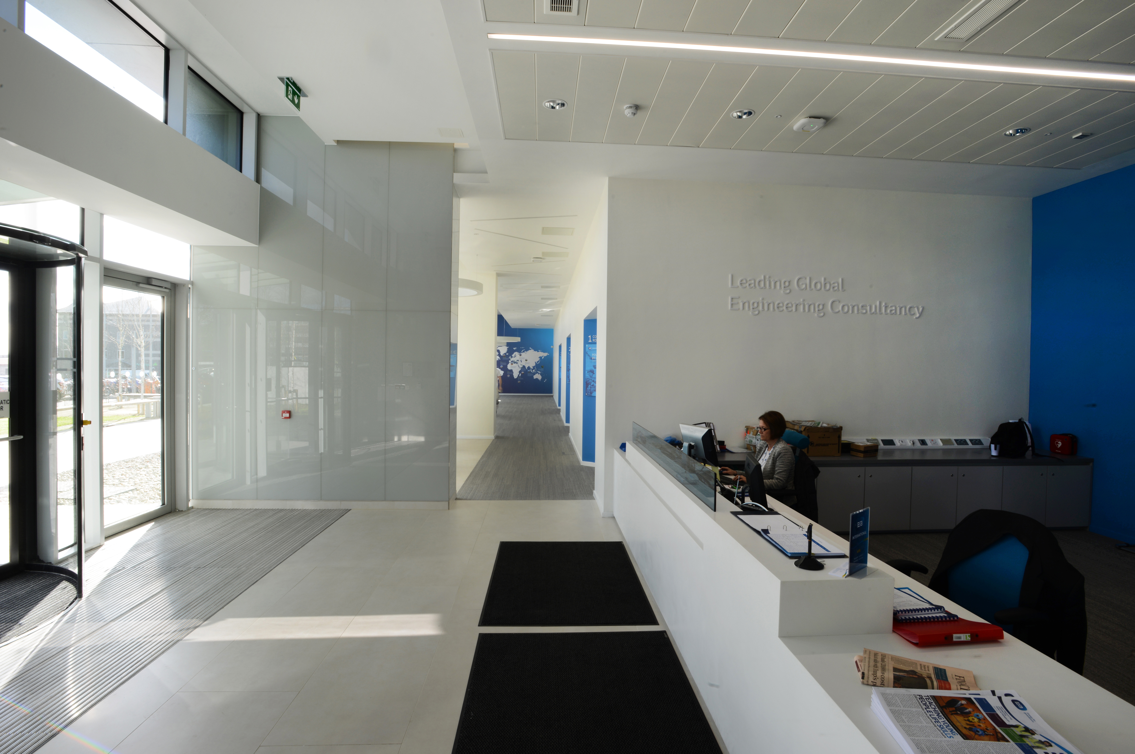 reception area inside ESB's international HQ building