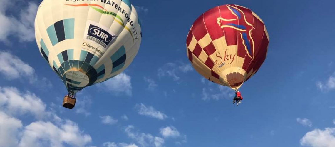 Discover Waterford Hot Air Balloon with Suir logo
